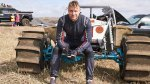 Former Cricketter Freddie Flintoff sitting on an off road buggie racer
