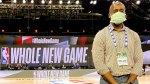 Orthopedic surgeon for the National Basketball Association Benedict Nwachukwu wearing a face mask inside a NBA basketball court and the NBA bubble,Walt Disney World Resort