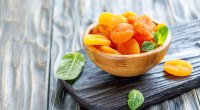 A bowl of dried apricots a good source of the micronutrient potassium