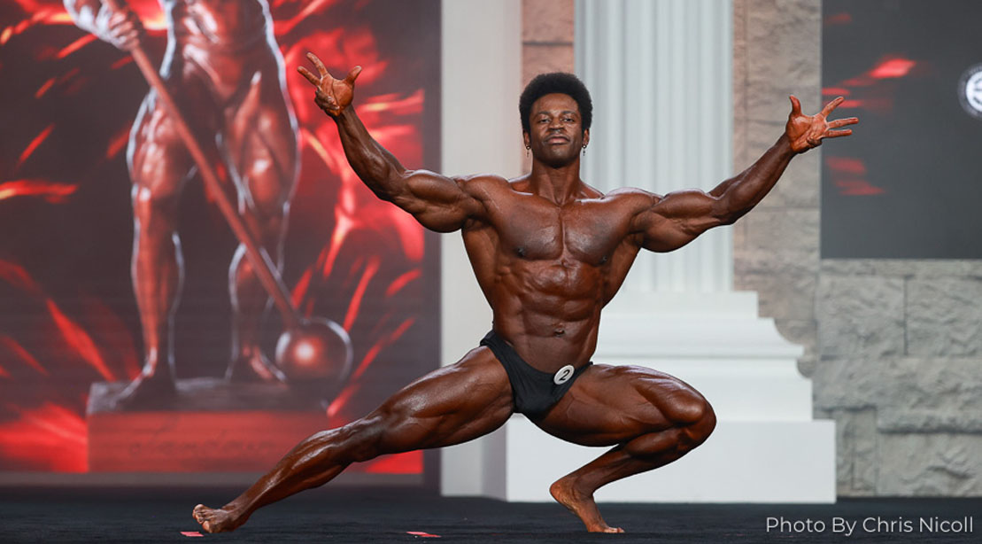 Bodybuilder Breon Ansley posing at Mr Olympia 2020