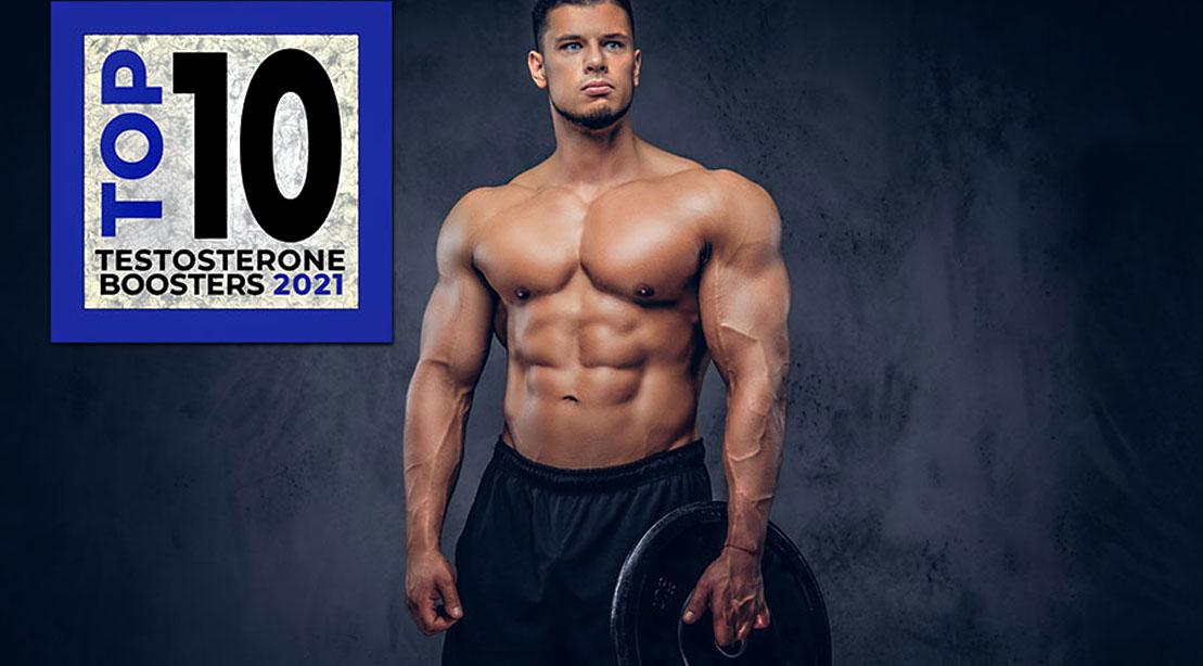 Bodybuilder holding a barbell plate promoting top ten testosterone booster for 2021
