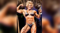 Female bodybuilder Helle Trevino wins a women bodybuilding competition