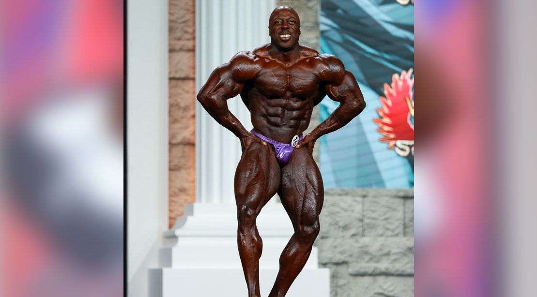 Professional bodybuilder George Peterson posing at Olympia 2020