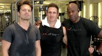 Actor Sebastian Stan Bucky in Marvel Comics Winter Soldier and Celebrity trainer Don Saladino working out in march