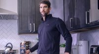 Michael Phelps Olympic Gold Medalist drinking Silk Ultra in his kitchen