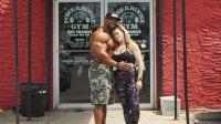 Bodybuilder couple Juan Morel and Karen Morel in front of Power House Gym to promote My Cookie Dealer