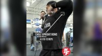 David Baye performing a cable upright row exercise for his shoulder blast workout routine