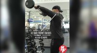 David Baye performing an EZ bar front raise exercise for his 6 moves to shoulder blast workout routine