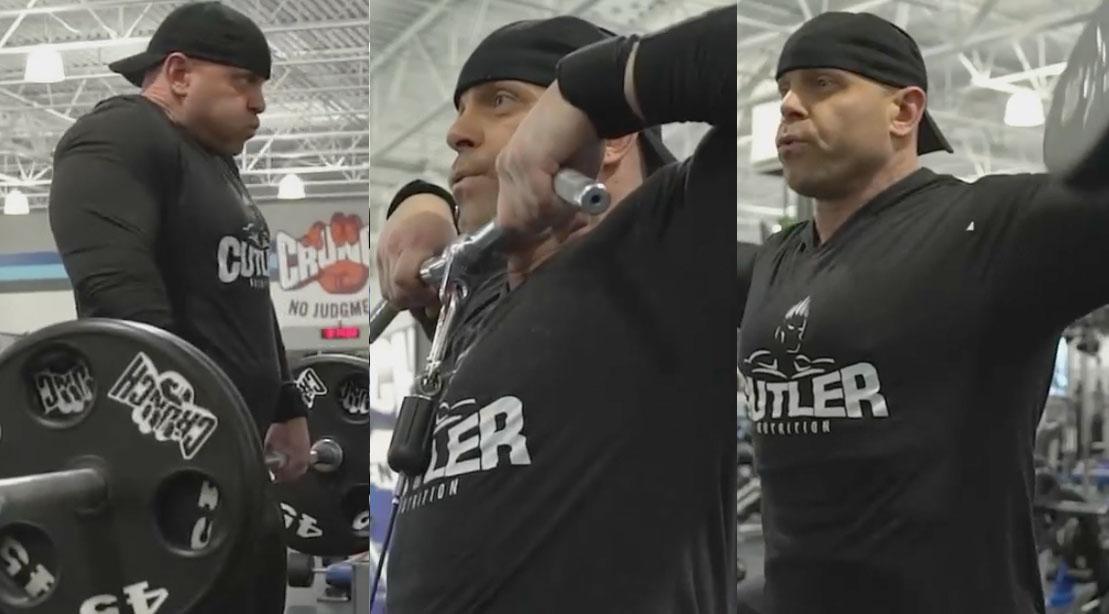 David Baye performing 3 shoulder exercises for his 6 shoulder exercises shoulder blasting workout routine