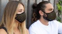 Couple wearing Halomasks face masks