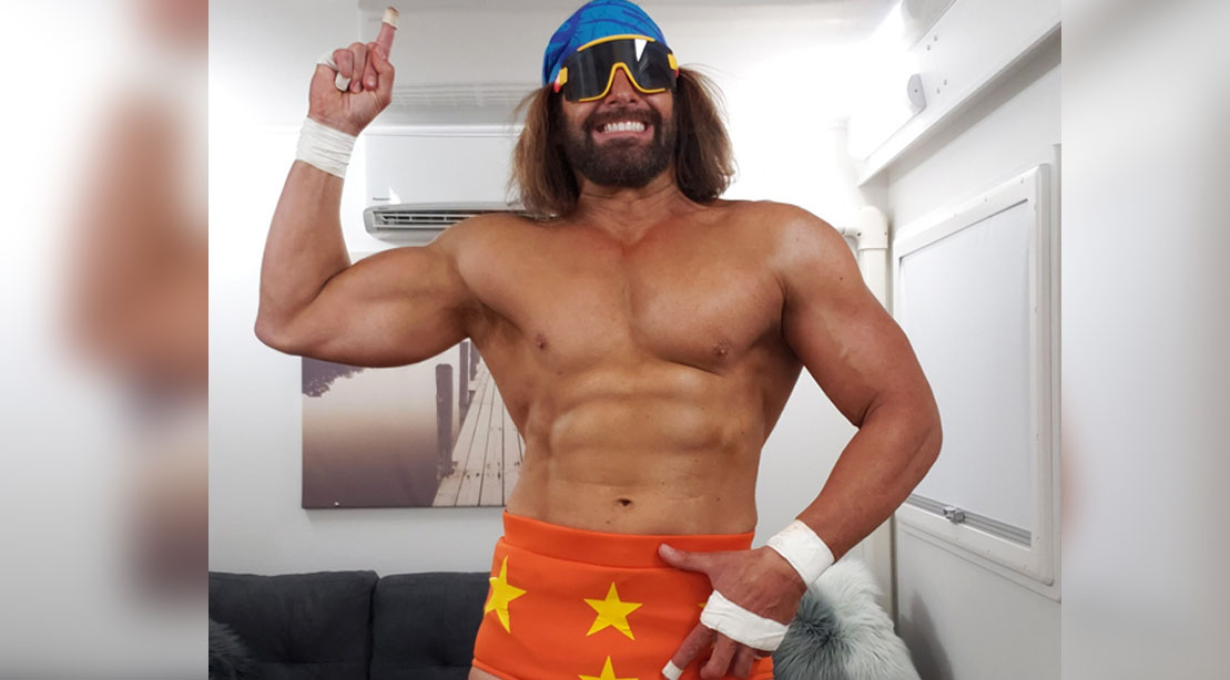 Kevin Makely playing Macho Man Randy Savage on Young Rock