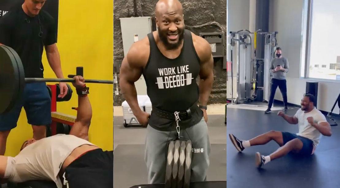 Larry Wheels James Harrison and Myles Garrett instagram gym hits and fails