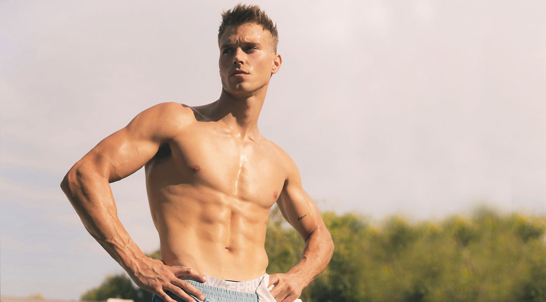Matthew Noszka shirtless and showing his abs muscle