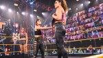 WWE female wrestler Racquel Gonzalez facing off to Io Shirai