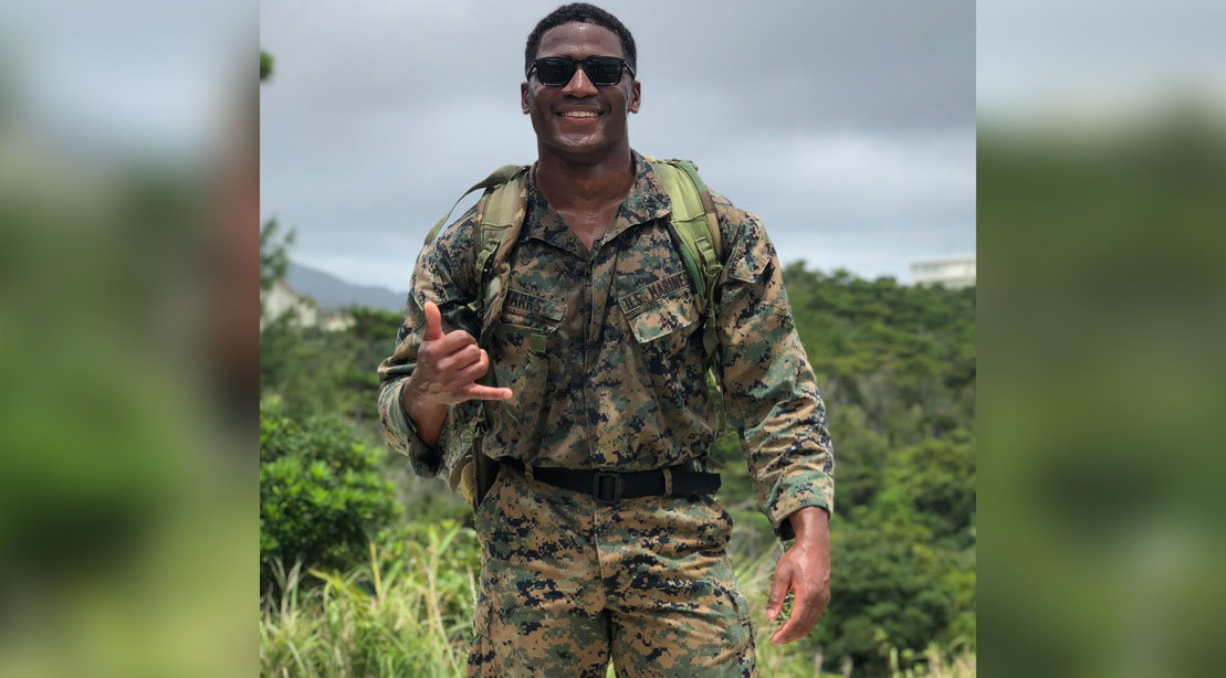 Marine Corp Vet Aaron Marks Wearing Military Fatigues In the Jungle