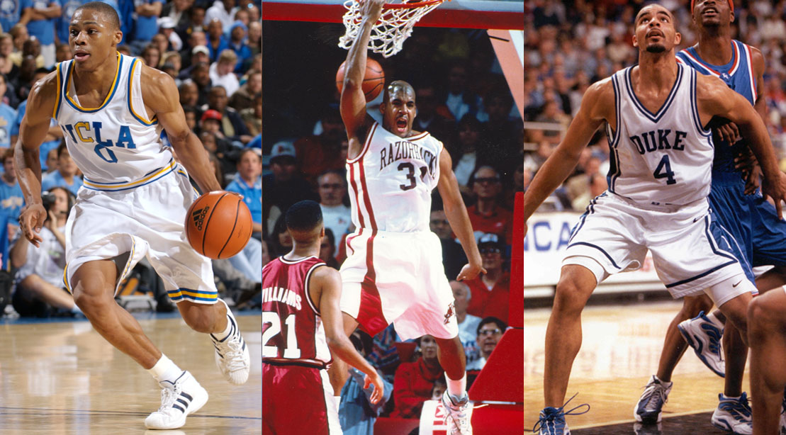 NBA Athletes and Basketball Players Russell Westbrook Corliss Williamson and Carlos Boozer playing college basketball in the Final Four March Madness College Basketball Tournament
