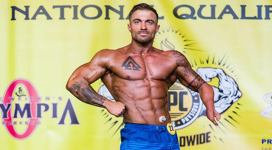 Bodybuilder Chris Ruden Posing on Stage