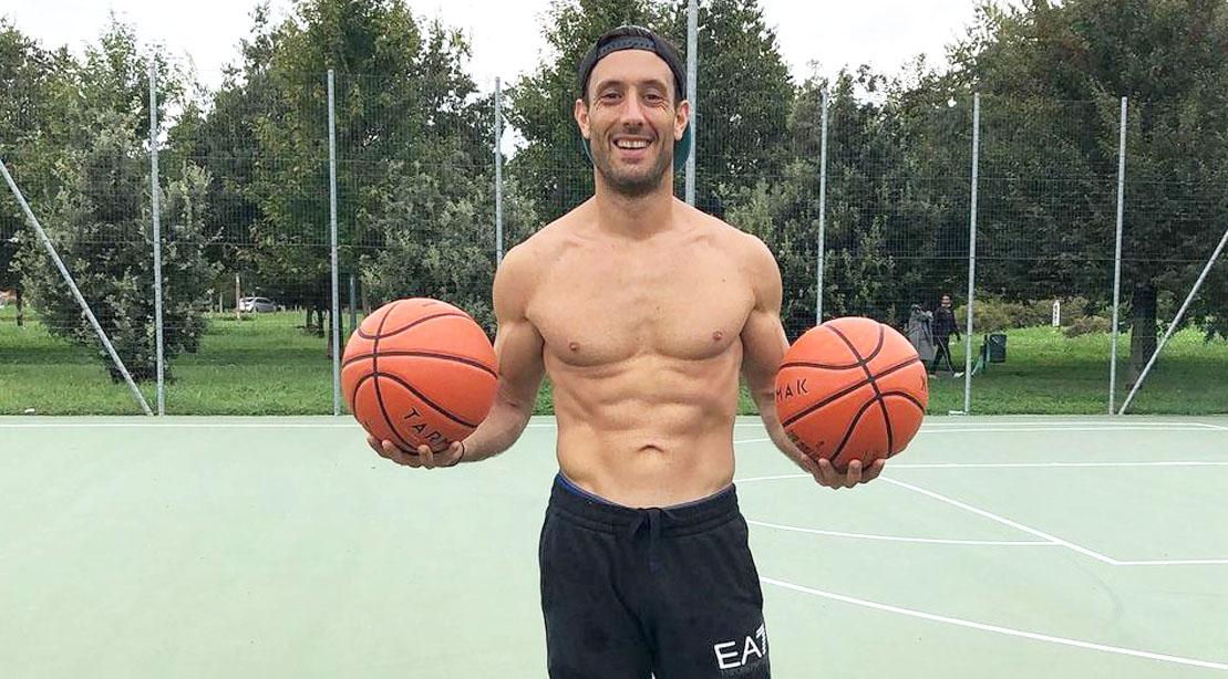 Davide Panzeri Holding Two Basketballs Topless