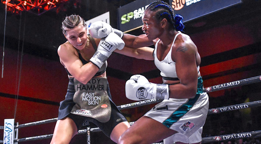 Female Boxer Claressa Shields Punching Her Opponent with a Right Hook