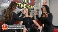 Makeup Artist Leiah Scheibel applying eye shadow on female bodybuilder Alina Popa