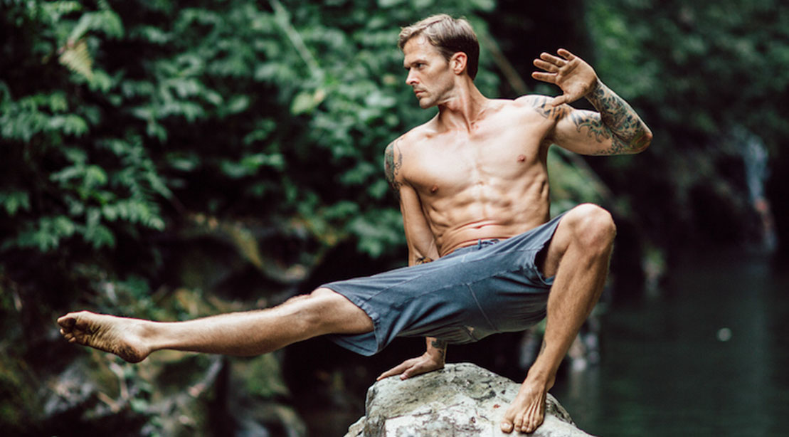 Mike Fitch Performing a Bodyweight Movement for His Outdoor Bodyweight Training