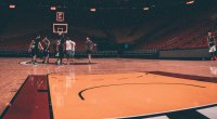 NBA Basketball Players and NBA Enforcers practicing for the NBA Playoffs