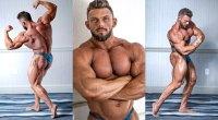 Bodybuilder Nathan Epler posing his quad muscles