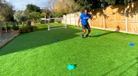 Born Barikor doing a reaction square and tennis drill for his Wimbeldon Workout