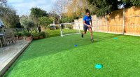 Born Barikor doing a tennis drill and sprinting square for his Wimbeldon Workout