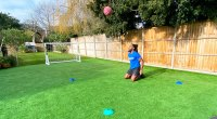 Born Barikor doing a tennis workout and performing a Kneel-to-squat ball-reaction drill for his Wimbeldon Workout