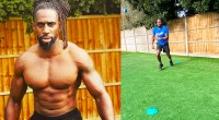 Born Barikor topless and showing his muscular physique and catching a tennis ball for his Wimbeldon Workout