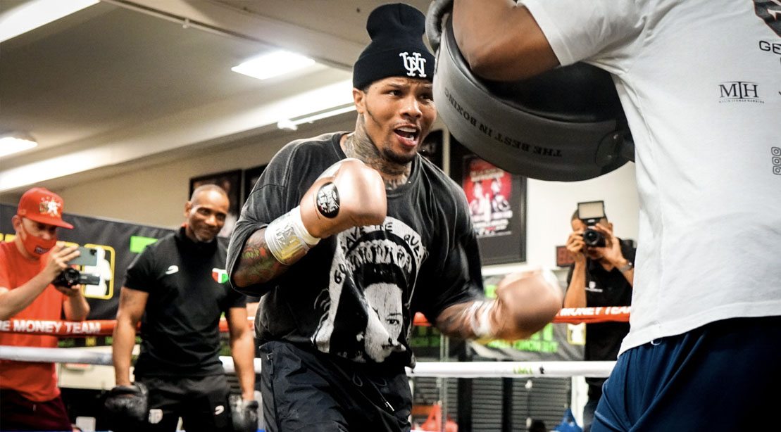 Boxer Gervonta Davis training in a boxing gym while focused on moving in weight class