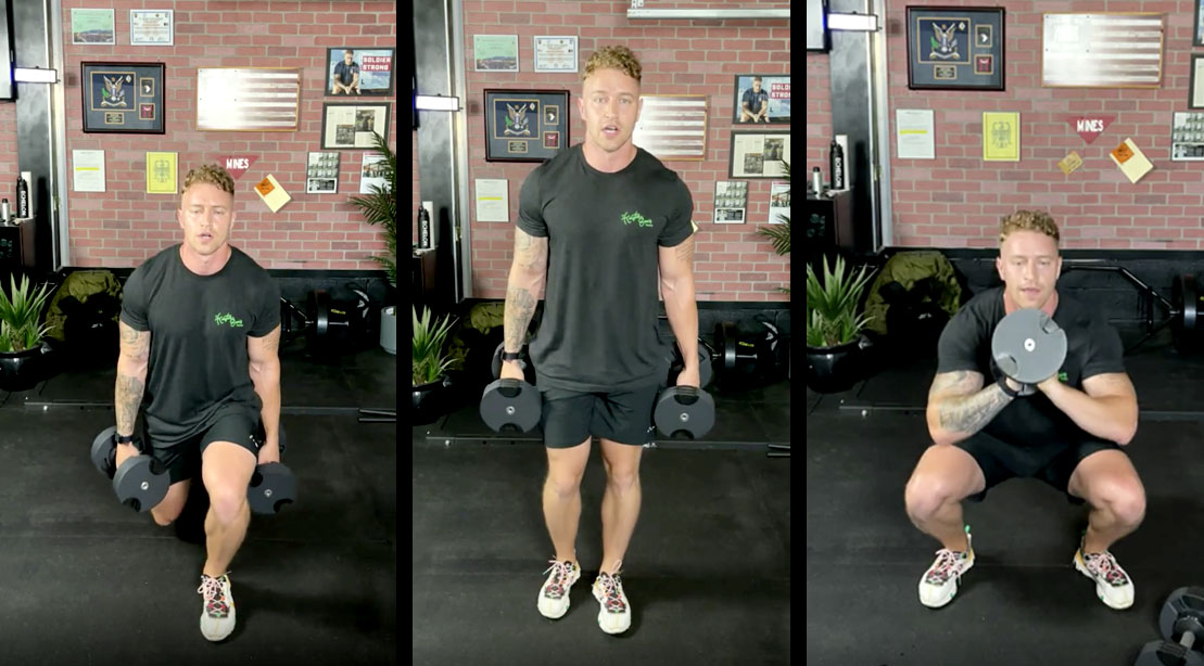 Celebrity trainer Erik Bartell and Muscle and Fitness Instagram live 30-minute floor workout