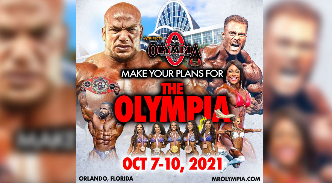 Olympia 2021 promotional image with all the olympia winners from Olympia 2020