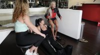 Alina Popa and Whitney Jones trying Compression Boots