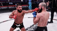 Bellator champion Patricio Freire throws a punch in the octagon