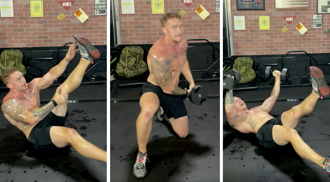Erik Bartell performing 3 exercises from his 30 Minute HIIT Upper Body Workout