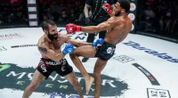 MMA Fighter and Bellator contender AJ McKee kicking his opponent