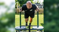 NFL Player For The Eagles Football Team and All-Pro Lane Johnson Pushing a Sled And Working Out at His Home Gym The 'Bro Barn'