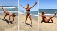 Sarah Dorough Fitness Influencer Performing a Beach Bodyweight Workout To Stay in Shape for the Summer
