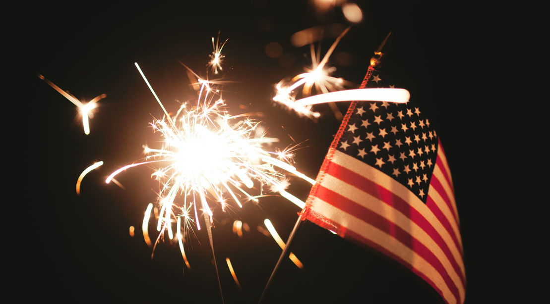 Sparklers and the U.S.A Flag on the Fourth of July Celebration and Recipes