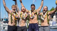 Jason Caldwell Endurance Athlete and his rowing team celebrating after competing in the Great Pacific Race