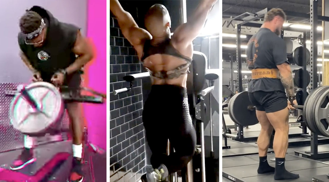 Male and female 2021 Mr. Olympian contestant workingout with back exercise