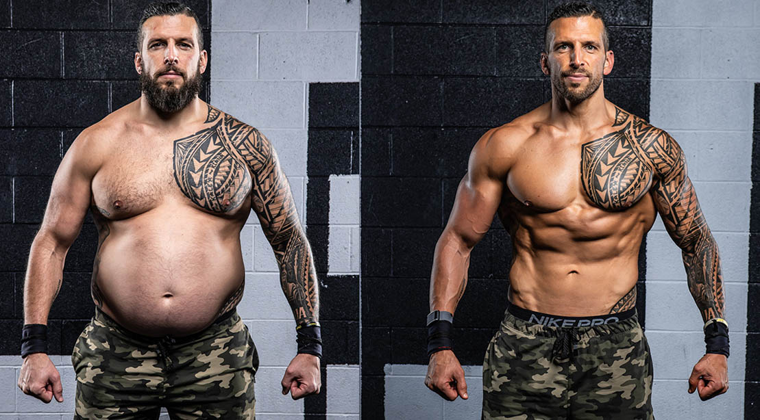 Personal trainer Drew Manning transformation in weight loss