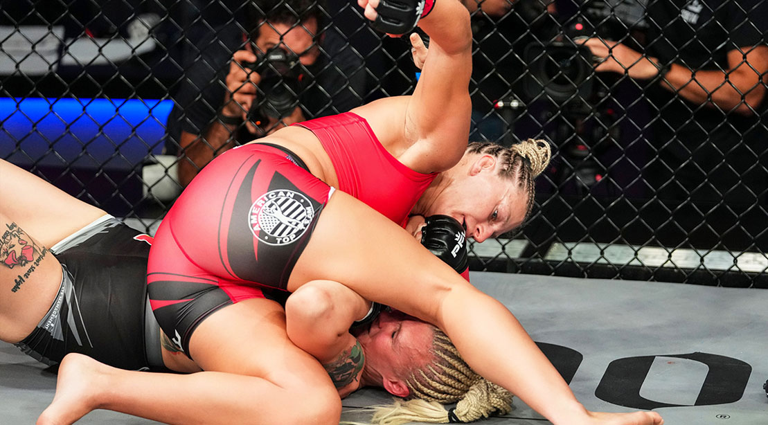 Professional MMA fighter for the PFL Kayla Harrison in a dominate position over her opponent