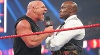 WWE wrestler Goldberg facing off with prowrestler Bobby Lashley for Summer Slam 2021