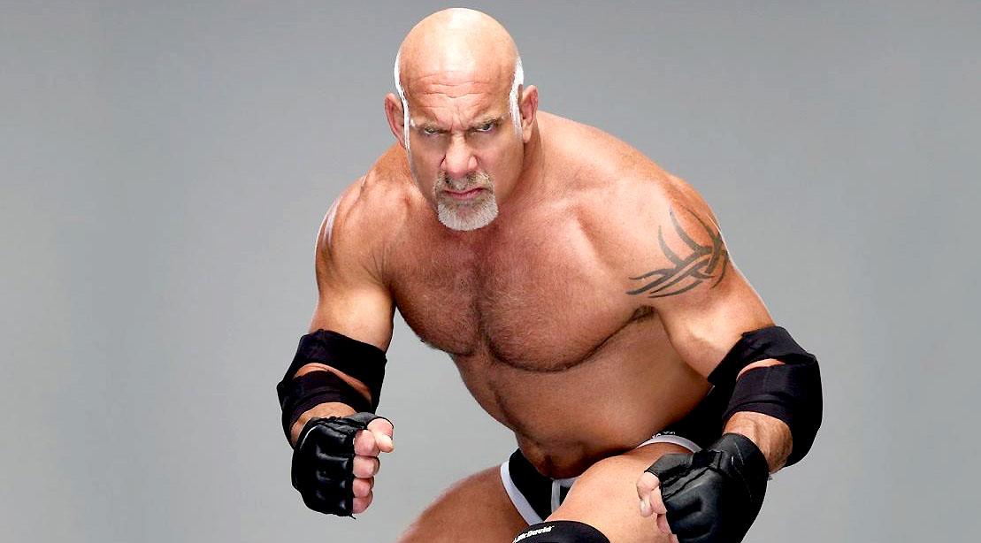 Wrestler Goldberg preparing to do his signature wrestling move The Spear