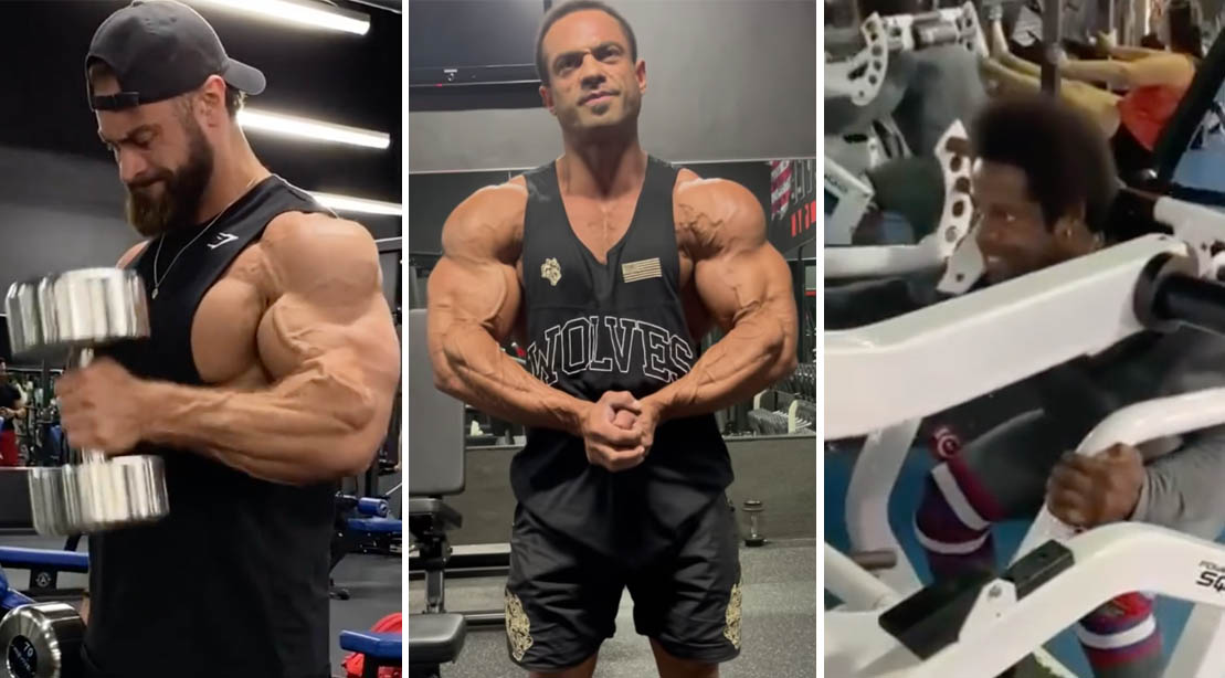 2021 Classic Physique competitors working out in the gym preparing for the 2021 Olympia Bodybuilding Competition
