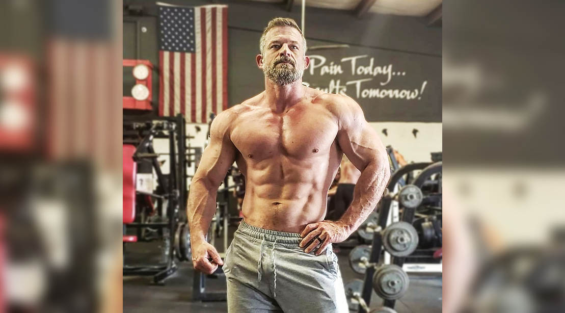Jason Parrish showing his muscular physique in the gym in his 40s