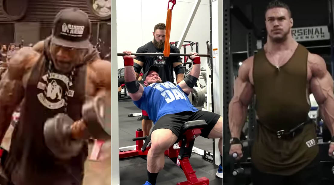 Top 2021 Olympia contenders Brandon Curry Hunter Labrada and Nick Walker training in the gym